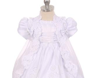 Lace Baptism Dress, Vestido de bautizo, Christening Lace Gown, Satin White Baptism Dress, Short Sleeve Christening Dress, Organza Cape