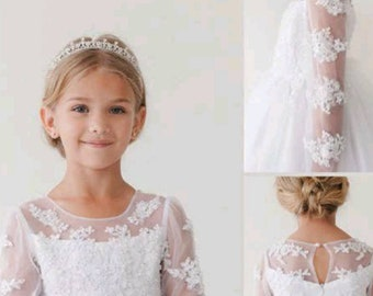 8a297c6e2df13 First Communion Dress: Long Sleeve Lace Dress