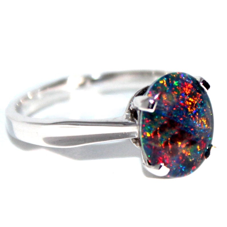 RED Genuine natural large 9x11mm triplets black opal 925 sterling silver ring