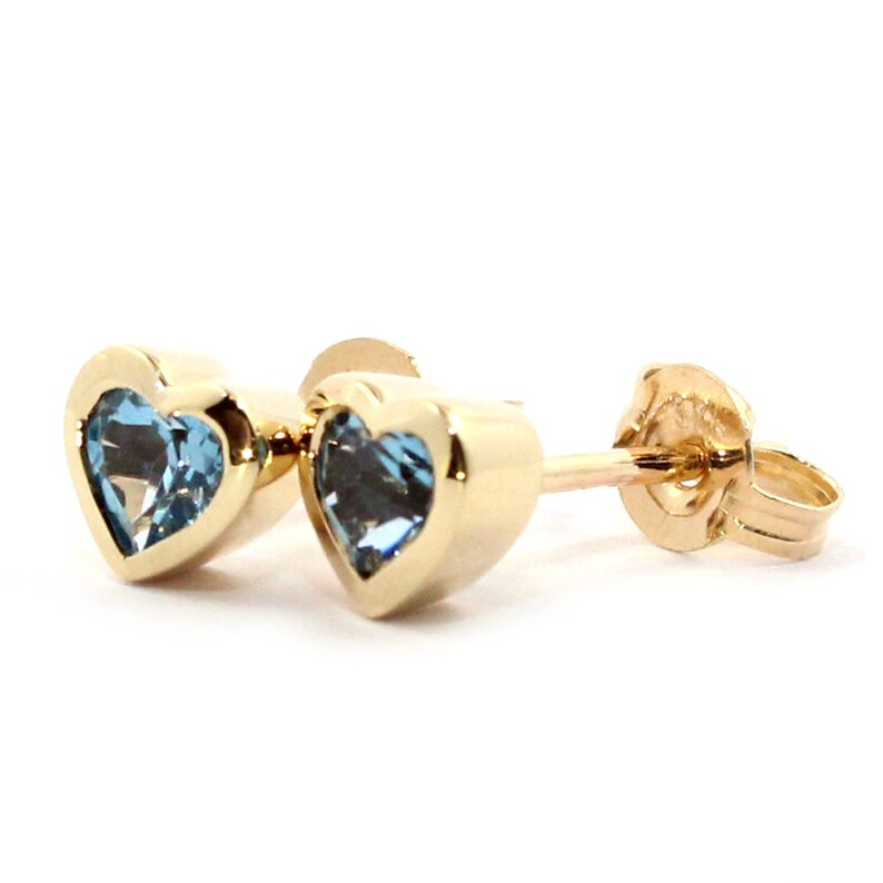 Genuine natural London blue topaz 0.7ct heart 9k solid yellow gold stud earrings