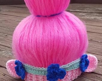 Crochet Princess Poppy Hat  & Matching Fingerless Gloves Inspired by the Movie Trolls - Poppy troll Costume, Poppy Troll gloves,Troll gloves