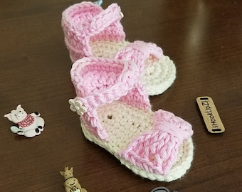 Crochet Baby Bow Sandals  Baby Shoes, Newborn baby sandals, Summer baby shoes, Summer baby sandals, pink sandals, pink baby sandals