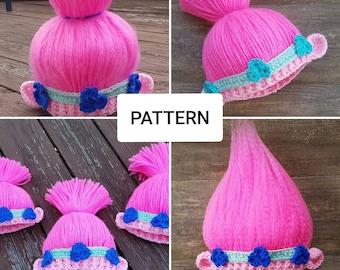 Pattern~Crochet Princess Poppy Hat Inspired by the Movie Trolls,Poppy troll Hat Pattern, Poppy wig Pattern,Troll hat Pattern, Princess Poppy