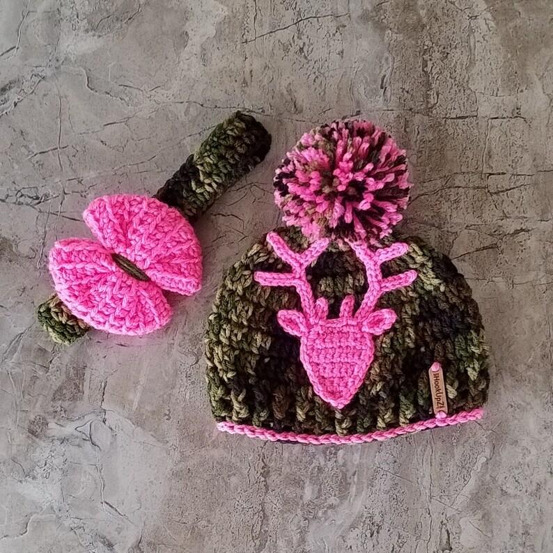 Camo beanie Crochet Camouflage hat hunting deer hat Camo Hat Camo deer hat Camoflage hat with pom Crochet Camouflage hat Hunting hat