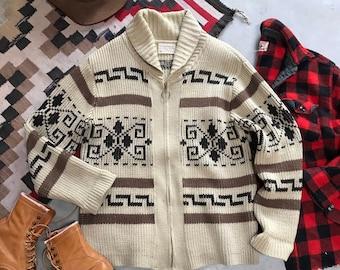 Vintage 60's Pendleton Westerley Knit Big Lebowski The Dude Cozy Wool Sweater Coat Winter Ski~ Men's Large
