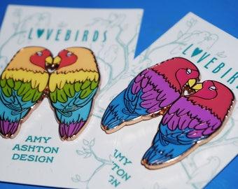 Lovebirds Enamel Pin