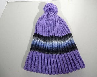 d14260a8875e Handmade ACRYLIC Knit Winter Ski Hat Cap Beanie Lilac with Variegated Black  and Blue Child   Teen   Adult Unisex Large