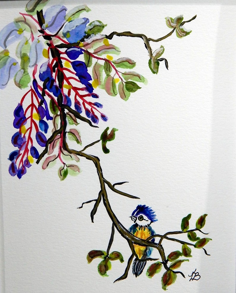 Floral Wisteria /& Eurasian Blue Tit Bird Original Watercolor Painting Mounted and Matted Home Nursery Decor Wall Art