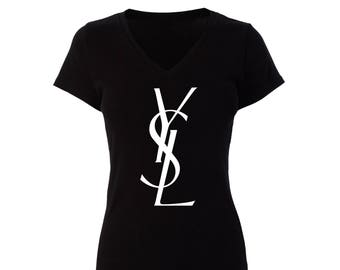 YSL Inspired T Shirt White Lettering on Black Womans Ladies Fitted V-Neck Short Sleeve