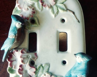 Porcelain Double Light Switch Blue Jays by Takchashi japan