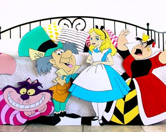 4 Character 2+ FT Alice in Wonderland Cutouts Standees Bundle Photo Props