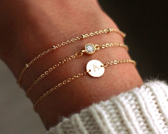 Personalized Bridesmaid Bracelets Gold   Personalized Bracelet Set   Personalized Bridesmaid Gift   Initial Bracelet   SILVER-ROSE Gold-Gold