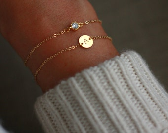 Gold Bracelet Set | Friendship Bracelets, Dainty Bracelet, Layered Bracelet Set | Gift for her | CZ Solitaire Bracelet  | Bridesmaid Gift