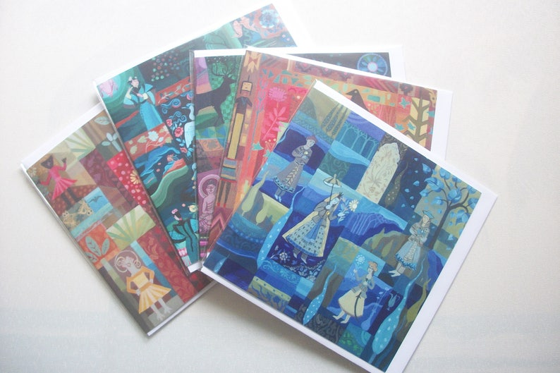 5 Fine Art Greeting Cards Assorted Designs Cultural Diversity Spirituality 14.5cm5.75ins sq