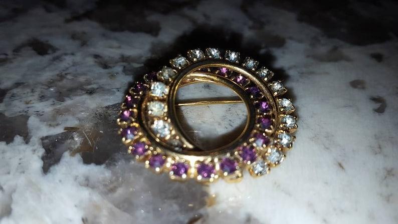 Double Ring Rhinestone Brooch