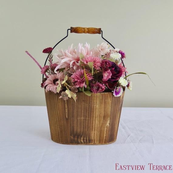 Wooden Bucket Flower Arrangement Faux Floral Arrangement Etsy