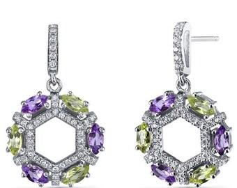 Amethyst and Peridot Hexagon Dangle Earrings Sterling Silver