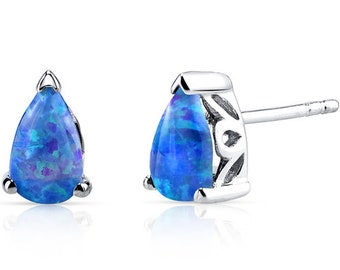 Blue Opal Tear Drop Stud Earrings Sterling Silver 1.00 Carats