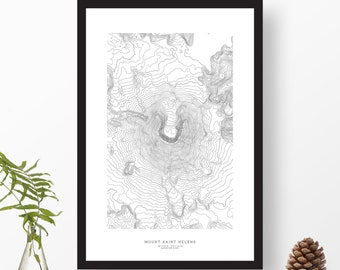 Mount Saint Helens, Washington | Topographic Print, Contour Map, Map Art | Home or Office Decor, Gift for Cascades Volcano Lover