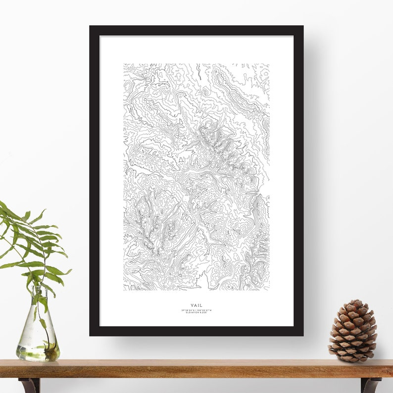 Vail, Colorado | Topography, Topographic Print, Contour Map, Map Art, Ski  Map | Home or Office Decor, Gift for Mountain Lover or Skier