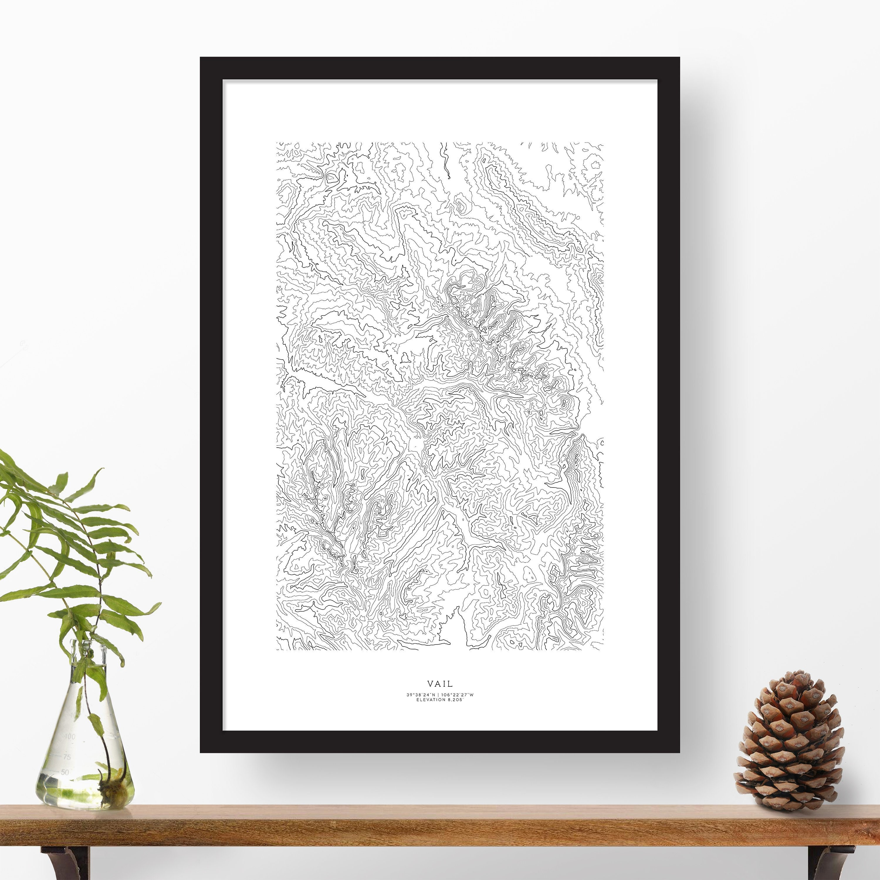 Vail Colorado Topography Topographic Print Contour Map Etsy