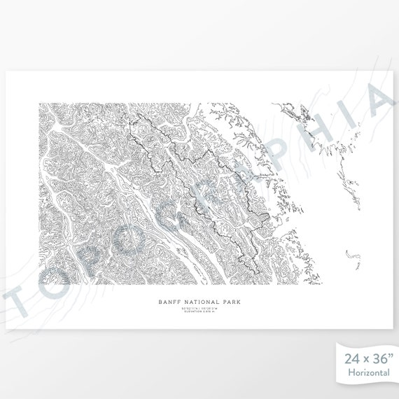 Map Art Contour Map Home or Office Decor Banff National Park Alberta Gift for Wilderness or Mountain Lover Topographic Print Canada