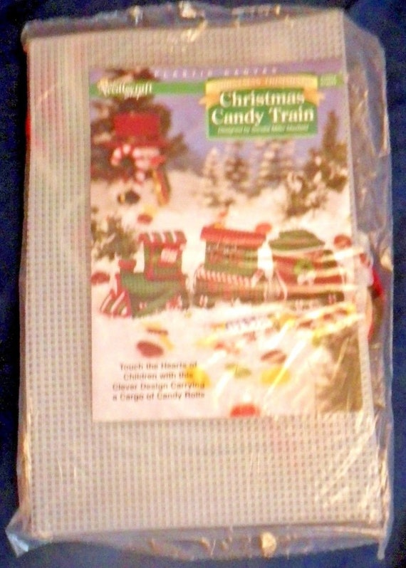 Christmas Candy Train.New Plastic Canvas Christmas Candy Train The Needlecraft Shop Locamotive Caboose