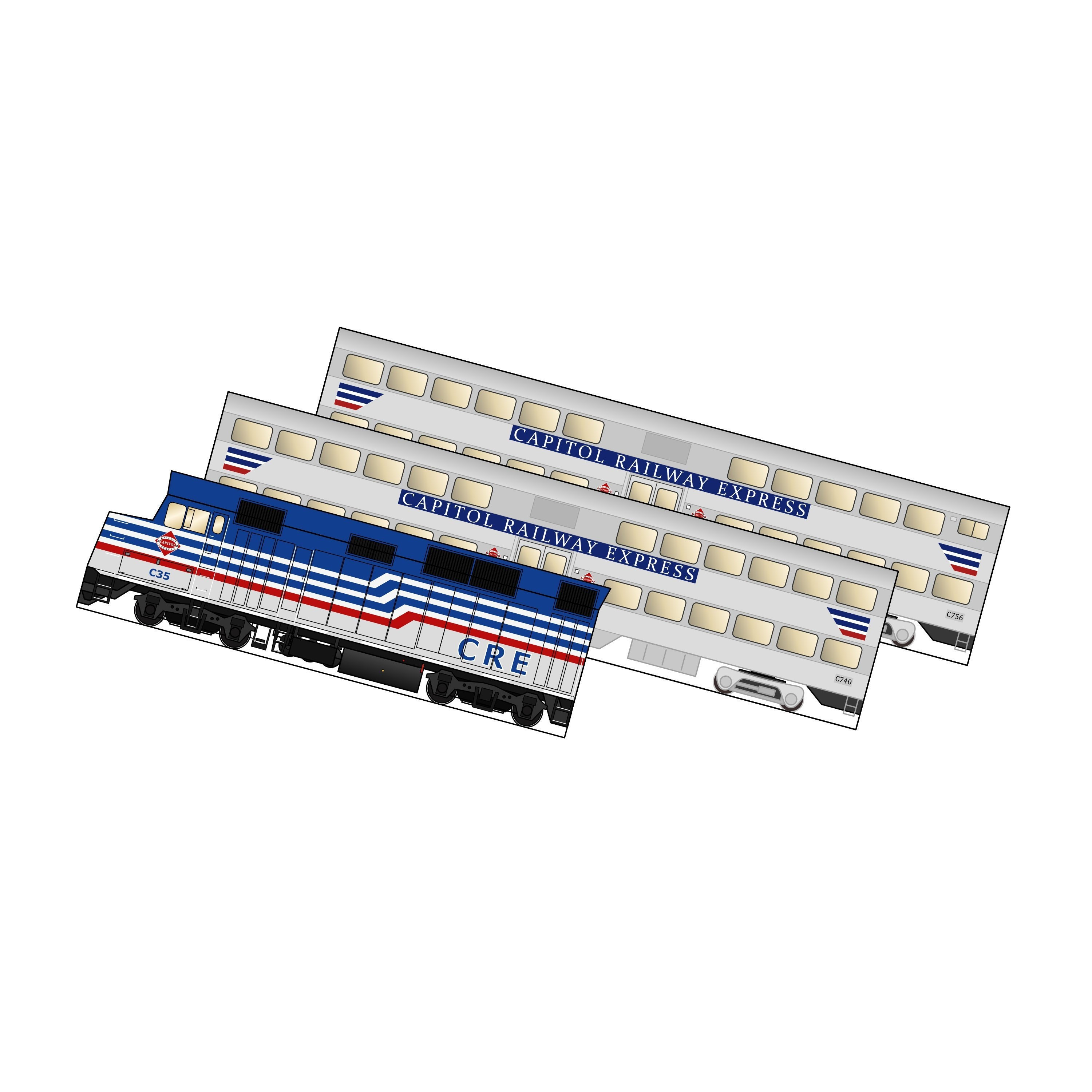 Model Train, DIY Project, 3D model, Craft Activity, Papermodel, Train  Decor, Washington DC, Virginia, VRE