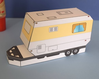 Camper DIY Paper Craft Model Kit, Kids Summer Project Gift and Party Idea Road Trip Toy Fun Activity Set Travelling RV Family Sightseeing