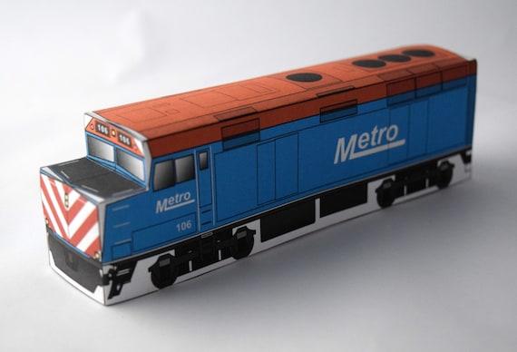 Metro Engine Model Kit Paper Craft Train Chicago Illinois Etsy