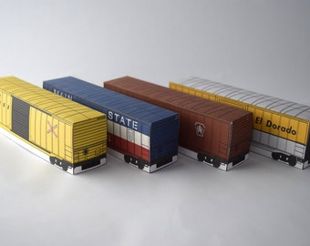 Boxcar Paper Model Set Paper Model Activity Set Kids Craft Kit Toy Train Birthday Project Train Lovers Gift Idea Do It Yourself