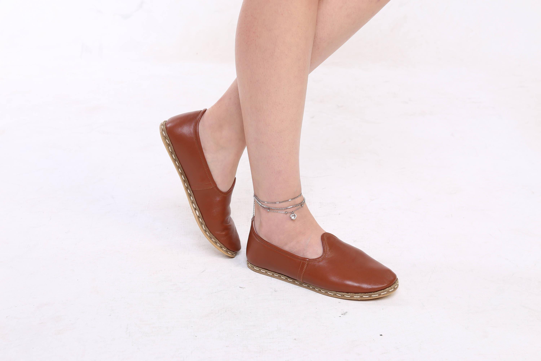 Brown Slip On Shoes Leather Handmade Unique Healthy Natural Yemeni Clarette Sandals Cristina Beige