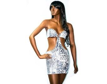 Exotic Dancewear White Animal Print Shape Flattering Short Dress