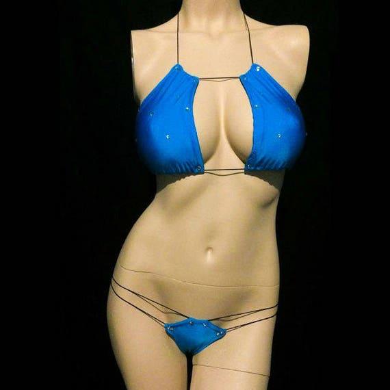 2 piece micro sparkle bikini pole dancer Exotic Dancewear Stripper outfit