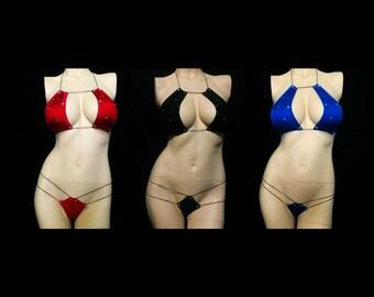 Exotic Dancewear, Stripper outfit, pole dancer,  2 piece micro sparkle bikini