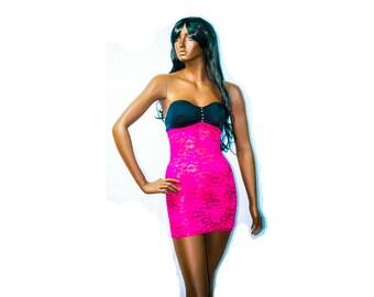 New Exotic Dancewear Stripper Rose pink/Black  Short Lace Dress