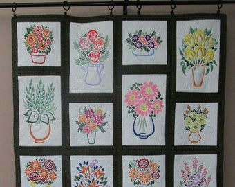 """Floral Vases, Wall Hanging, Floral, Vases, Flowers, Machine Embroidered, Home Decor, Modern Flowers - approx 32"""" x 40"""""""