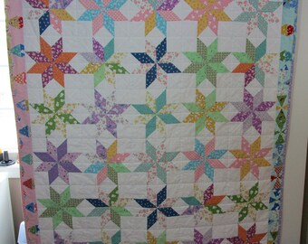 "Machine made Baby Quilt, Crib Quilt, Baby Quilt, Handmade Baby Quilt - Lemoyne Star - approx 44"" x 52"""