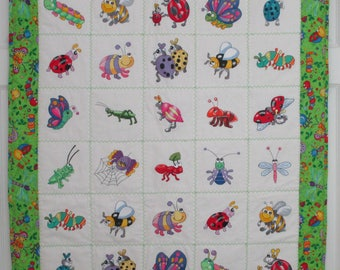 "Machine Embroidered Baby Quilt, Crib Quilt, Baby Blanket, Handmade Baby Quilt - Cute Bugs - Get Buggy - approx 36"" x 42"""