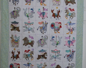 """Machine Embroidered Baby Quilt, Carousel Animals, Crib Quilt, Baby Quilt, Handmade Baby Quilt - Carousel Animals - approx 36"""" x 42"""""""