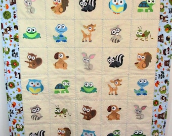 "Machine Embroidered Baby Quilt, Crib Quilt, Baby Blanket, Handmade Baby Animals Baby Quilt - Wide Eyed - approx 36"" x 42"""