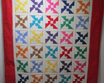 "Hand Made Baby Quilt, Crib Quilt, Baby Blanket, Handmade Quilt - Primary colored Propellers, Primary Colors - approx 39"" x 45"""
