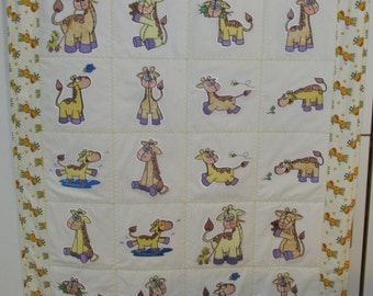 "Machine Embroidered Baby Quilt, Baby Giraffes, Crib Quilt, Baby Quilt, Handmade Baby Quilt - Giraffes - approx 38"" x 46"""