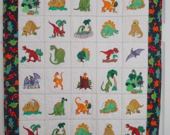 "Machine Embroidered Baby Quilt, Crib Quilt, Baby Blanket, Handmade Baby Quilt - Adorable Dinosaurs - approx 36"" x 42"""