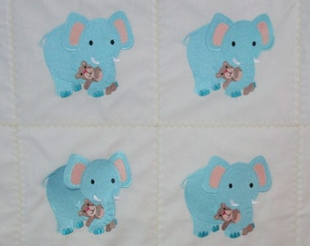 """Machine Embroidered Baby Quilt, Baby Elephants, Crib Quilt, Baby Quilt, Handmade Baby Quilt - Baby Elephants - approx 38"""" x 46"""""""