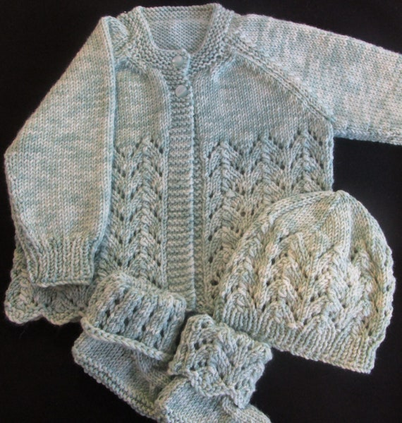1374523c02db Hand Knitted Baby Outfit Layette Set Baby Sweater Set Mint