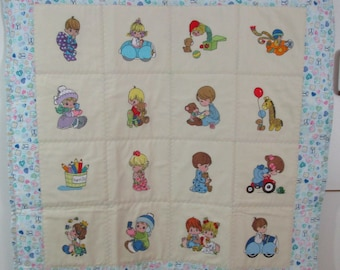 """Precious Moments Baby Quilt, Machine Embroidered, Handmade Baby Quilt - Precious Moments - approx 30"""" x 30"""""""