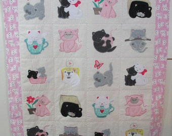 "Machine Embroidered Baby Quilt, Baby kittens, Crib Quilt, Baby Quilt, Handmade Baby Quilt - Kittens - approx 38"" x 46"""