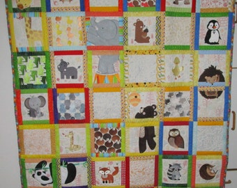 "Machine Embroidered Baby Quilt, Baby Quilt, Animal Adventures Baby Quilt, Crib Quilt, Handmade Baby Quilt - A - approx 48"" x 56"""
