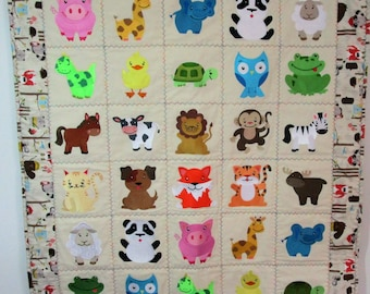"Machine Embroidered Baby Quilt, Crib Quilt, Baby Blanket, Handmade Baby Animals Quilt - Playful Pals - approx 36"" x 42"""